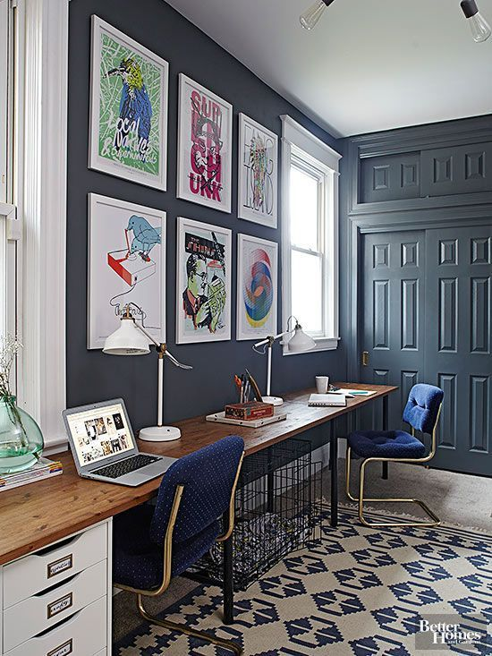 Blue creative home office for two