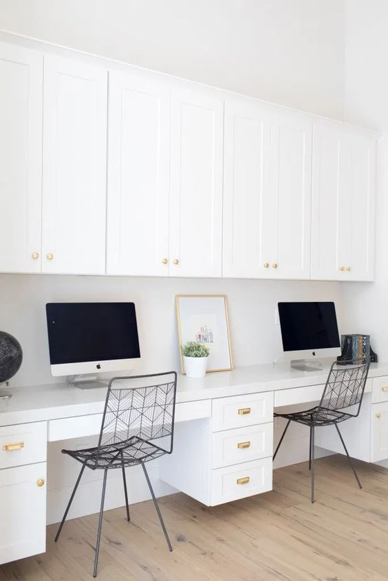 White office desk built in for two