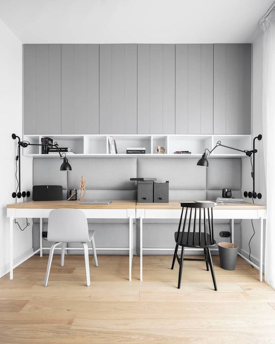 Neutral grey and white double office scheme