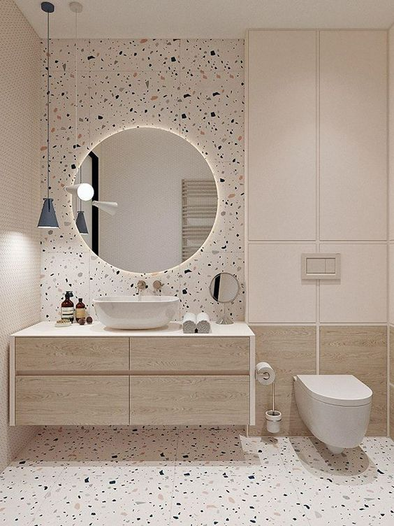 A modern take on a terrazzo bathroom. Using the terrazzo material as a neutral to compliment the space with its colour tone and scale to add that little bit more interest to the interior applying it to the walls and floor. #terrazzobathroom #terrazzobathroomfloor #modernbathroomdesign #neutralbathroomideas #terrazzointerior @chloedominik