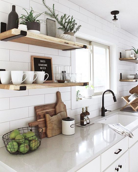 6 Design Styles To Avoid A Messy Home - Open Shelving in the Kitchen