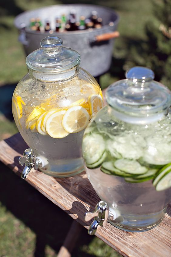 Drink Dispensers - 9 Essentials For Hosting The Perfect Garden Party: Having drink dispensers at your garden party is a great way to make sure drinks are on hand to your guests all the time when you're attending elsewhere, especially on hot day. Keep guests hydrated with flavoured waters or juices. @chloedominik #gardenparty #gardenpartyideas #gardenpartydecor #hostingagardenparty #gardenpartyessentials #drinkdispenser #drinkdispenserideas
