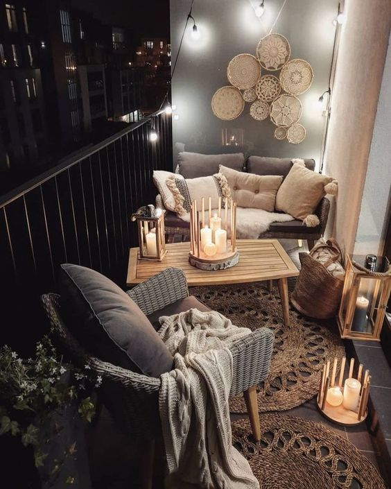Small Boho Outdoor Balcony - Using Garden Lanterns: 10 Favourites: Even though the outdoor balcony space is small it has turned out into a beautiful Boho styled outdoor living space complete with sitting area and decorative features such as the lanterns and woven wall decor. @chloedominik  #smallbalconyideas #bohooutdoorspace #lanterns #lanternsdecor #gardenlanterns #gardenlanternoutdoor #bohooutdoorspacepatiobalconies