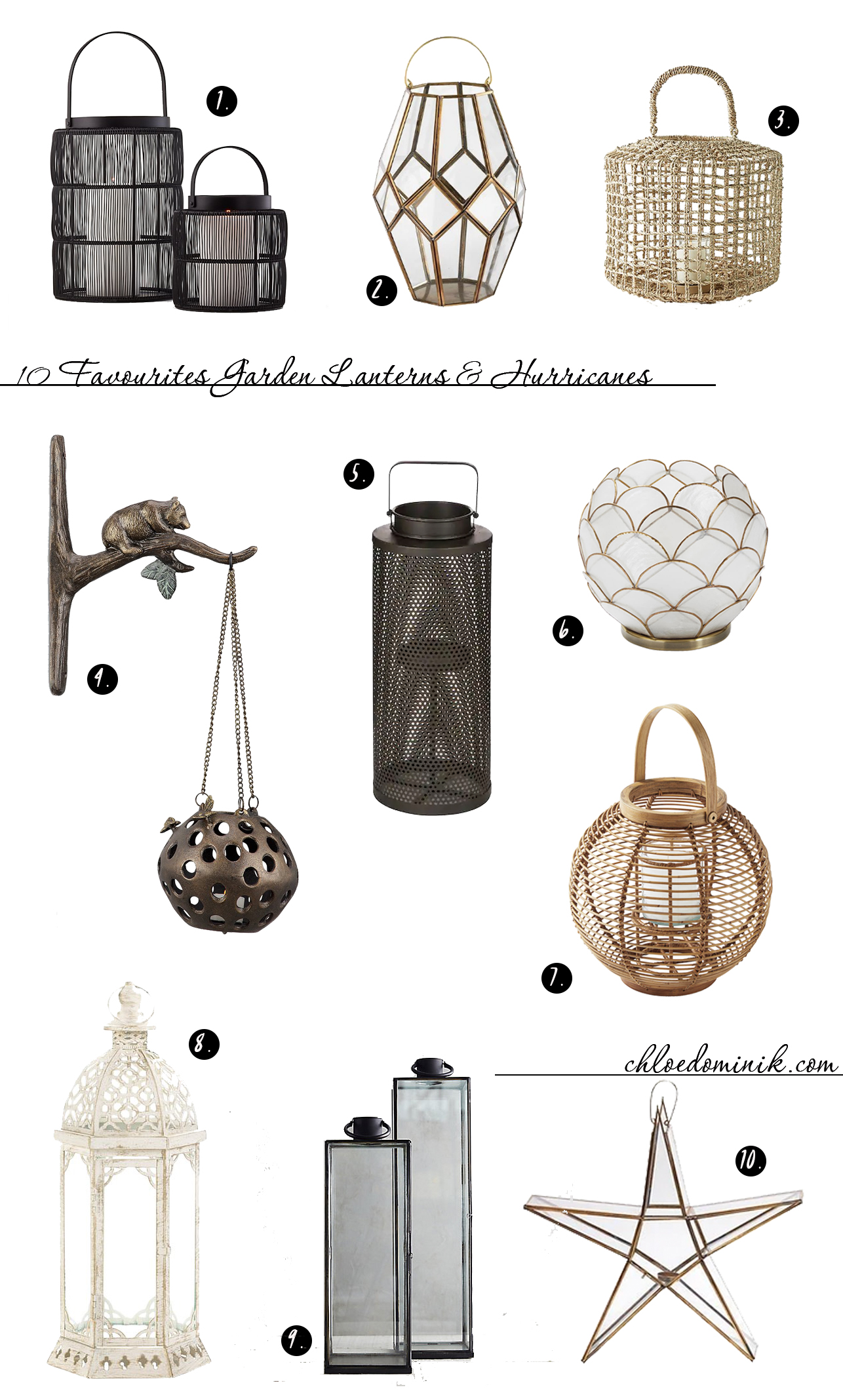 Using Garden Lanterns: 10 Favourites: Adding garden lanterns for your garden decor or when hosting a garden party, is a simple and easy way to add some decorative lighting features to enhance your outdoor space and the mood. Leaving you able to enjoy the Summer night's right through until the evening. @chloedominik #lanterns #lanternsdecor #gardenlanterns #gardenpartydecorations #gardenlanternoutdoor #gardenlanternideas #gardenlightingideas