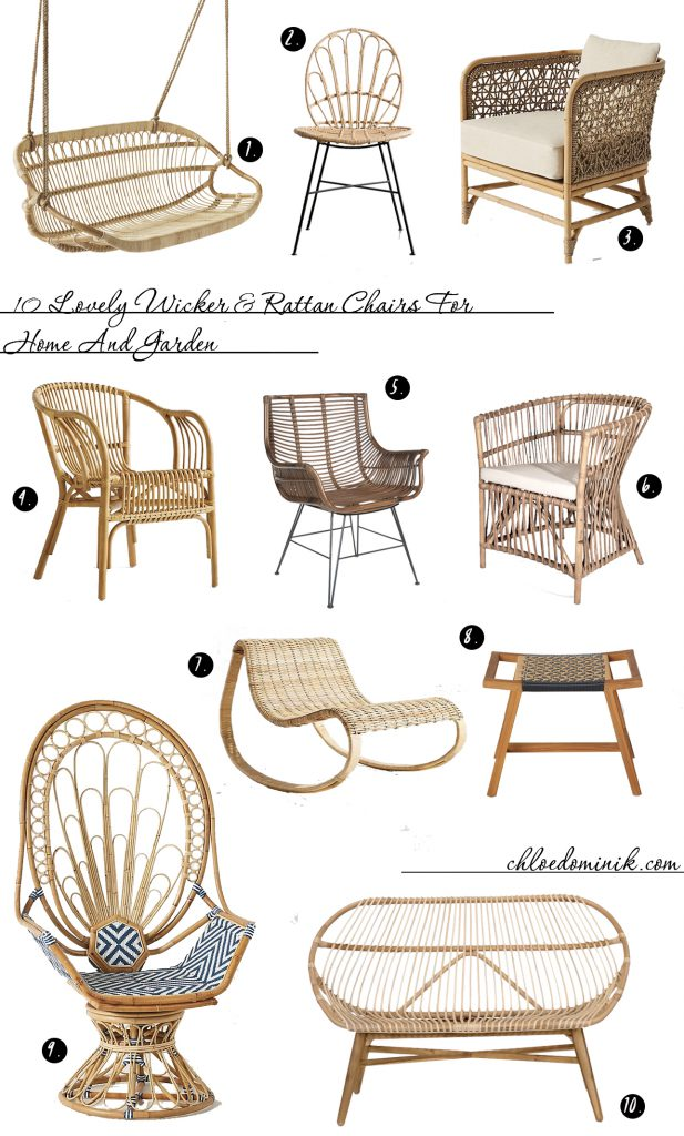 Wicker and rattan furniture is gaining its popularity again. Versatile and durable enough to be used indoor or outdoor there are lots of styles to choose from here are 10 of the best rattan and wicker chairs for inside the home or out in the garden. #rattanchair #wickerchair #rattanfurniture #wickerfurniture @chloedominik