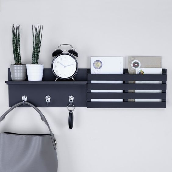 Wall Shelf Mail Holder - 7 Simple Daily Tasks To Keep Your Home Organized: A decor wall shelf to hold some of your everyday necessities out the way and in order so you can find things when needed. Store your important things like keys, mail and bags. @chloedominik #wallshelf #wallshelfdecor #wallshelfideas #mailholdersforwall #mailholderwall