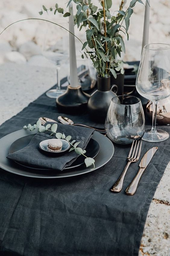 Modern and Moody Table Setup - 9 Essentials For Hosting The Perfect Garden Party: Creating a colour palette or a decor theme for your garden party table scape is a sure way to make impact for your guests this moody table setting has a more sophisticated dinner feel. @chloedominik #outdoortabledecor #gardenparty #gardenpartyideas #gardenpartydecor #hostingagardenparty #gardenpartyessentials #moodytablescape #moodytablesetting