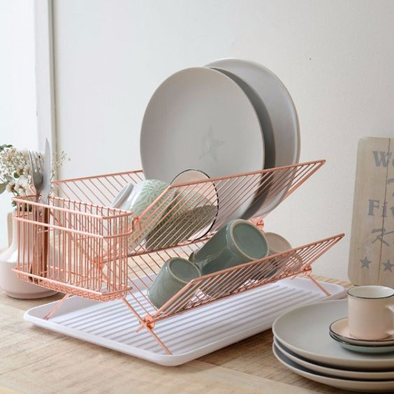 Dish Drying Rack - 7 Simple Daily Tasks To Keep Your Home Organized: Washing up your dishes straight after eating is a simple way to keeping your kitchen organized. Keeping a dish rack next to the sink will keep the counter area looking a little more pretty. @chloedominik #dishdryingrack #dishrack #kitchenorganization