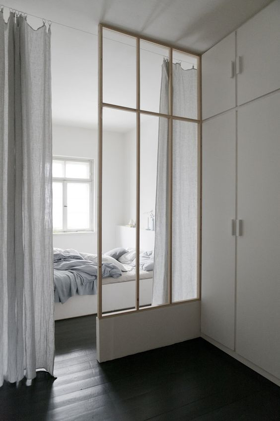 Bedroom Snug With Glass Divider - 9 Amazing Bedroom Divider Closet Ideas To Maximize Your Space: The closet and the bedroom space has been swapped around turning the sleeping area in to a cozy little snug separated by a glass screen divider with more room to get dressed in the larger closet area. A more functional idea for bedroom layout. @chloedominik #bedroomdivider #bedroomdivisionideas  #bedroomdividerideas #bedroomclosetdividerideas #glassdividerwallbedrooms #bedroomsnug