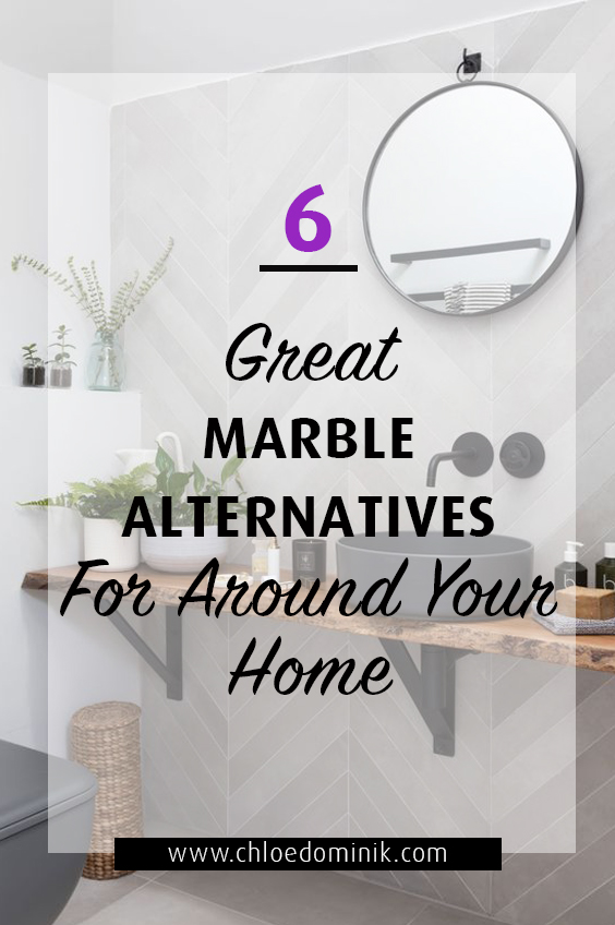 6 Great Marble Alternatives For Around Your Home: Marble has been a big trend in interiors around the home and it's staying around for a while. However if you're looking for a marble alternative for cost reasons or just looking for something totally different from the marble trend here are some options that might take your fancy! @chloedominik #marblealternative #marblealternativewall #marblealternativecountertops #interiortrends