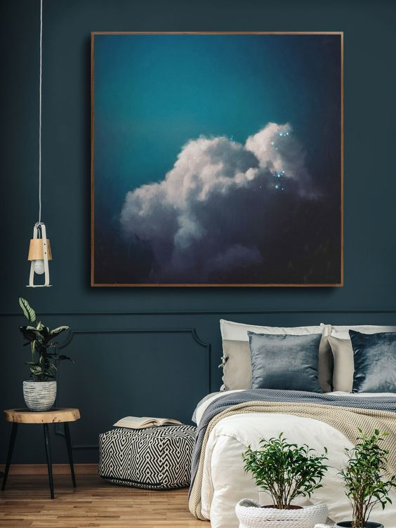 Blue Art Canvas - 7 Amazing Tips To Start Designing Your Space When Stuck: A beautiful blue canvas like this one from Corinne Melanie Fine Art can be a starting point for pin pointing colours for the rest of the room. @chloedominik #artcanvas #blueartcanvas #artcanvasinteriordesign #howtostartdesigningyourhome #designyourroom