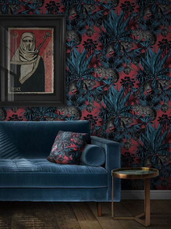 Wallpaper Interior Design - 7 Amazing Tips To Start Designing Your Space When Stuck: Finding a dramatic wallpaper like this amazing design from Divine Savages is a great source of inspiration to start and bring together your design pulling from the colours and the pattern. @chloedominik #wallpaperinteriordesign #dramaticwallpaper #divinesavages #divinesavageswallpaper #interiorwallpapaerdesign #howtostartdesigningyourhome #designyourroom