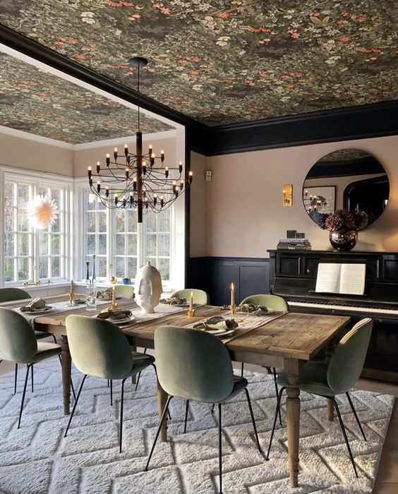Floral Dining Room - 20 Amazing Statement Ceiling Design Ideas For Your Home: A beautiful traditional dining room with a twist of modern using modern chairs and a moody botanical wallpaper on the ceiling. @chloedominik #diningroomdesign #floralwallpaper #floralwallpaperceiling #darkfloralwallpaperceiling #botanicalwallpaper #diningroomideas