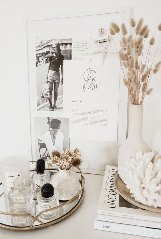 Fall Home Styling - September Pinterest 2020: Top 15 Inspiration & Ideas: Gorgeous minimal Fall inspired home styling with natural dried grasses for vase decor and beautifully styled on top of a bedroom dresser with personal pieces and accessories in muted beige, creams, gold and white. @chloedominik #fallinspiredhomedecor #minimalfalldecor #minimalfalldecorideas #autumnhomedecor #styledbedroomdresser #creamandgoldaesthetic