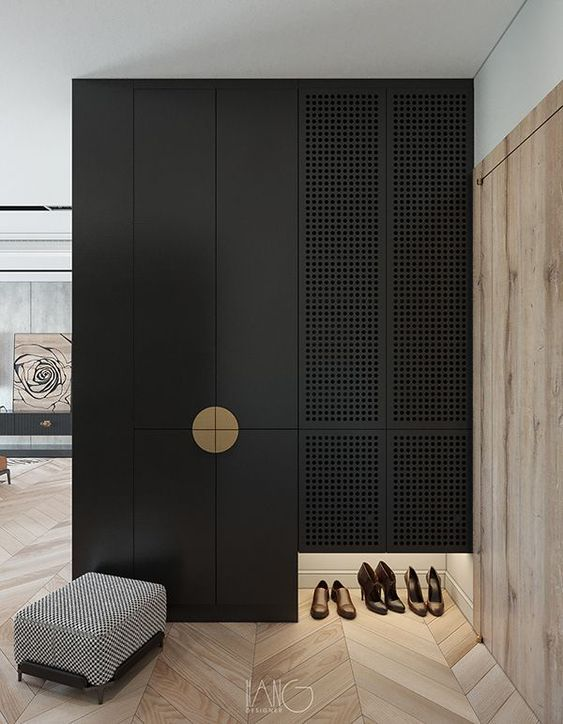 Elegant Hallway Cabinet Design - August Pinterest 2020: Top 15 Inspiration & Ideas: A beautiful cabinet organization and storage idea for the hallway. An area where it can be a bit messy. But you can turn you hallway storage closet into a feature instead. Like this black and gold closet design. @chloedominik #hallwaystorageideas #blackclosetwithgold #eleganthallwayideas #hallwayorganizationideas