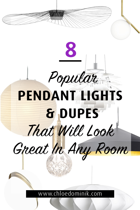 8 Popular Pendant Lights & Dupes That Will Look Great In Any Room: When it comes to interiors there are some things that can make or break the space, light fixtures being one of them! Here are 8 of some of the most popular pendant light fixtures in interior design that work great in any room space. These include designer pendant light fixtures and other alternatives to achieve a similar look. @chloedominik #pendantlights  #pendantlightfixtures #popularlightfixtures #pendantlightdesign