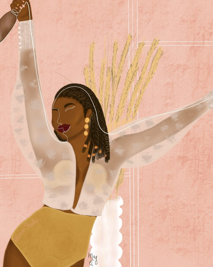 Black Woman Joy - Bold & Beautiful Togo Inspired - Featured Artist: Manue Akue-Gedu: An illustration of a black woman joyfully celebrating with minimal line work incorporated in the painting on a pink background. Art by illustrator Manue Akue-Gedu. @chloedominik #blackartists #blackartwork #blackillustrationart #blackillustrationgirl #blackwomanillustrationart #togoafricaart #africanillustrators