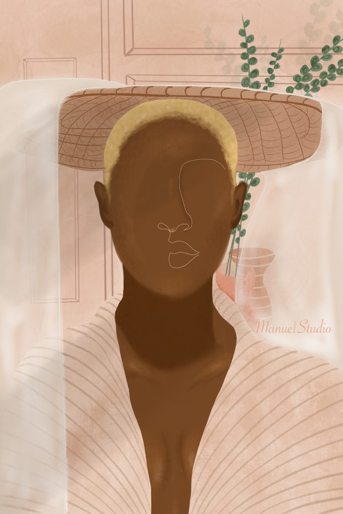 Portrait Black Woman: Bold & Beautiful Togo Inspired - Featured Artist: Manue Akue-Gedu: Bold illustration of a minimal styled portrait of black woman in hat. Artwork by illustrator Manue Akue-Gedu @chloedominik #blackartists #blackartwork #blackillustrationart #blackillustrationgirl #blackwomanillustrationart #togoafricaart #africanillustrators