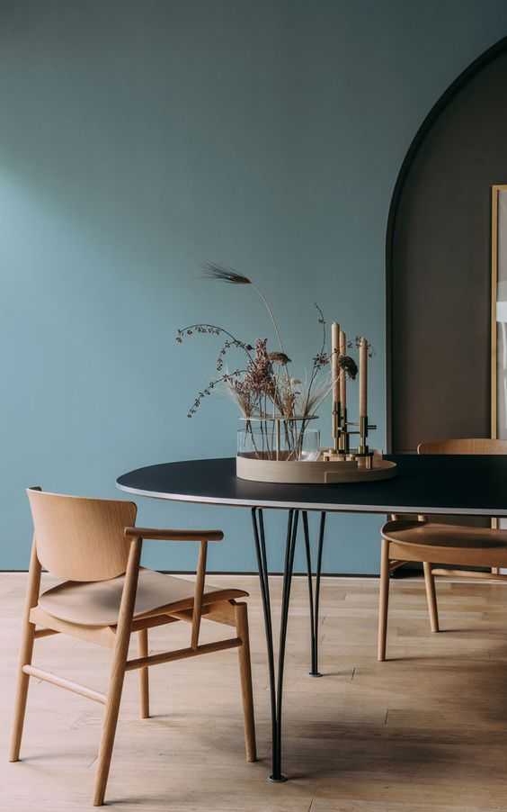 Blue Japandi Dining Area: December Pinterest 2020: Top 15 Ideas & Inspiration: Beautifully styled and calming blue Japandi interior design dining area with wooden floors and modern furniture design. #japandiinteriors #japandidining #japandidiningarea #japandiideas #japandidecorideas #japandiinteriorblue