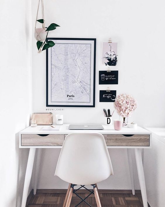 Cute Girly Office Desk Corner - 5 Great Design Ideas Worth Incorporating Since Home Lockdown: Modern drawer desk put in the corner of a room and styled with accessories to create an inspired little working area from home. Decorated in white, black and blush colours. #cuteofficeideascornerdesk #girlyofficedecor #girlyofficeideas #girlyofficedesks #homeofficecorner #homeofficecornerideas #whiteofficedecor