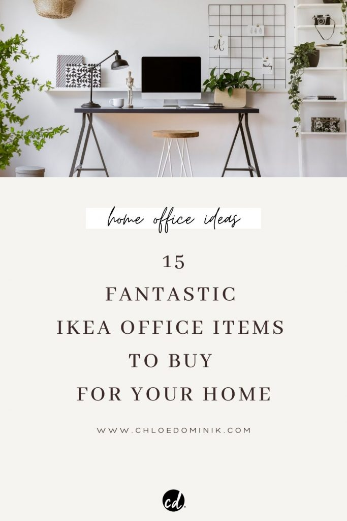 15 Fantastic Ikea Office Items To Buy For Your Home: If you've been working from home for the last few months and are thinking of creating more of a permanent and productive place to work at home then here are some great ikea office furniture pieces and accessories to help set up your home office. @chloedominik #ikeaoffice #ikeahomeoffice #ikeahomeofficeideas #ikeaofficefurniture #homeoffice #homeofficesetup #homeofficeideas