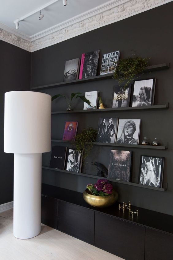 Styled Black Book Wall: December Pinterest 2020: Top 15 Ideas & Inspiration: Living room black book ledge wall styled with fashion coffee books and gold accessories for a modern sophisticated look. #bookledgewall #blackbookcaselivingroom #livingroombookshelfdecor #blackwallinteriordesign #ledgewalldecor