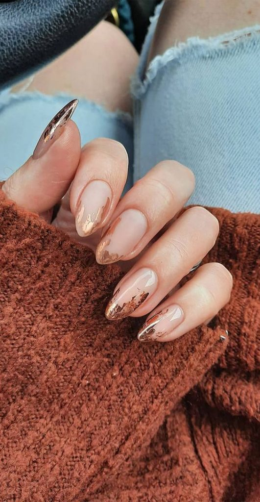 Copper Flecked Nail Tips - December Pinterest 2020: Top 15 Ideas & Inspiration: Nude nails decorated with copper flecked tips by Hannah Leahy Nails. #nudenails #nudenailsandcopper #nudenailswithtips #nudenailswithtipcolor