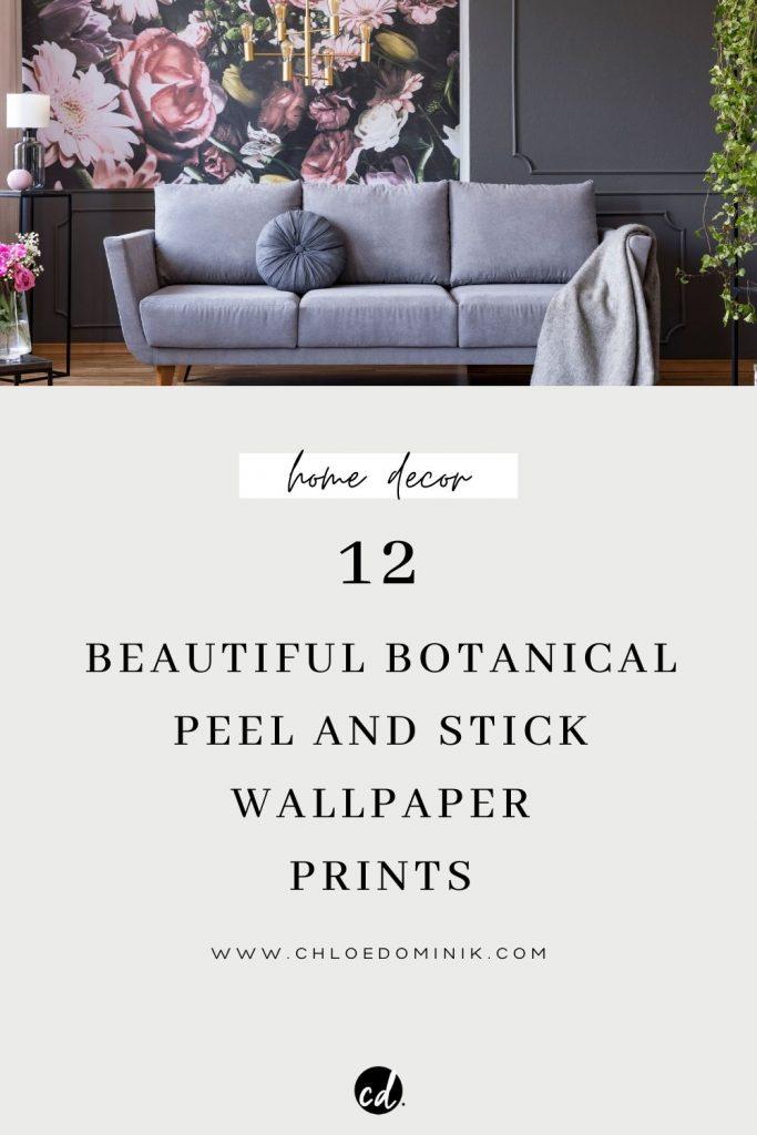 Peel and stick botanical wallpaper interior