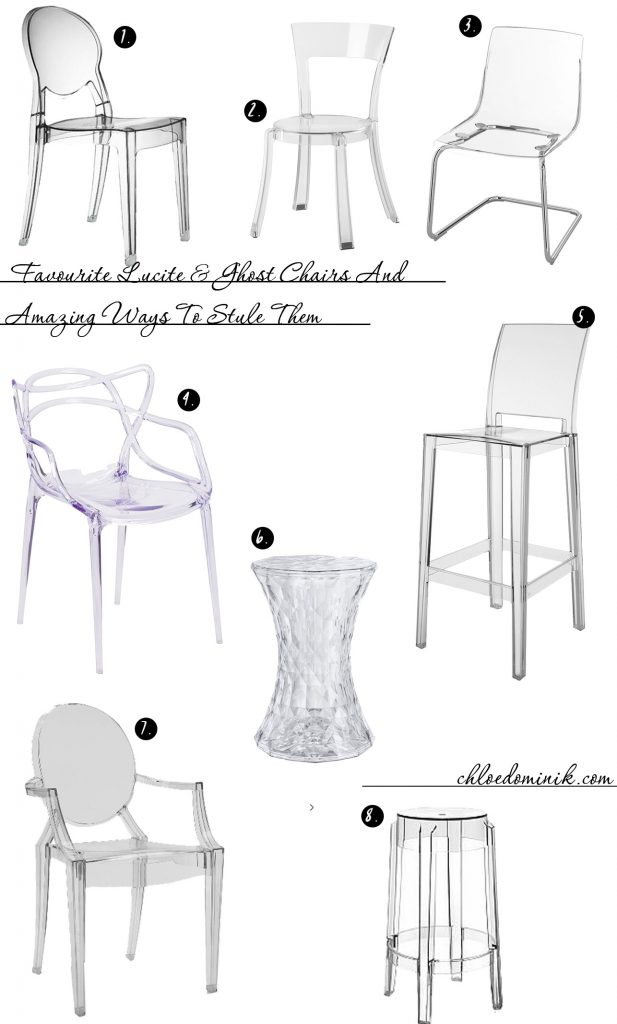 8 Favourite Lucite & Ghost Chairs And Amazing Ways To Style Them - A chair that can be used in modern or traditional interiors and is practical in its look. With the transparent material blending in to the interiors. Great for small spaces where seating is still needed without feeling too overcrowded. Here are some other alternatives for acrylic or lucite transparent chairs. @chloedominik #ghostchair #lucitechairs #acrylicchair #transparentchair #clearchair
