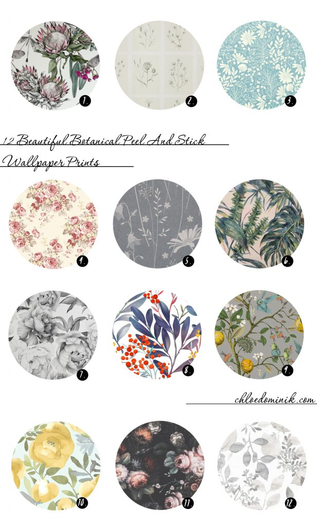 12 favourites of botanical and floral peel and stick wallpaper